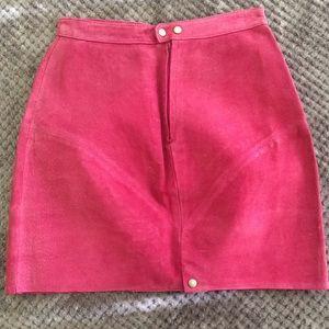 Vintage Skirts - Vintage Raspberry Leather Suede Skirt